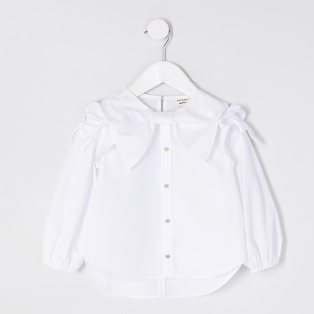 Mini girls white bow shirt