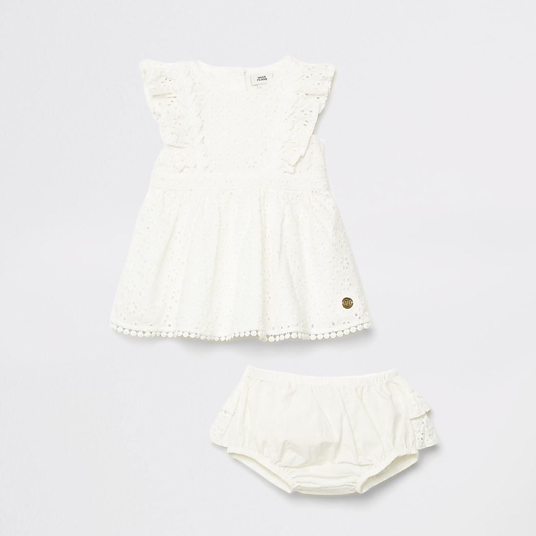 Mini girls white broderie dress outfit