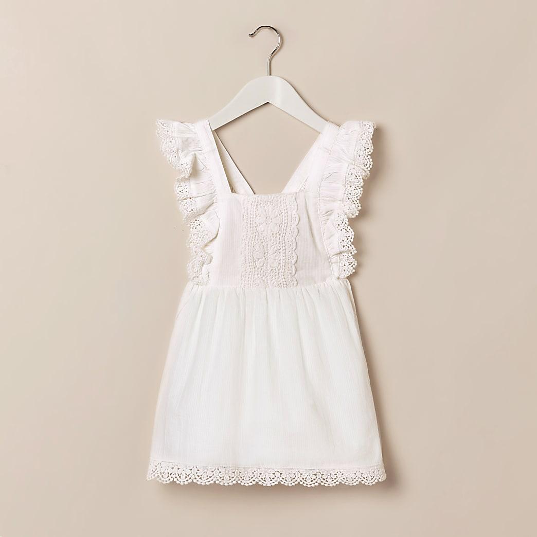Mini girls white broderie dress
