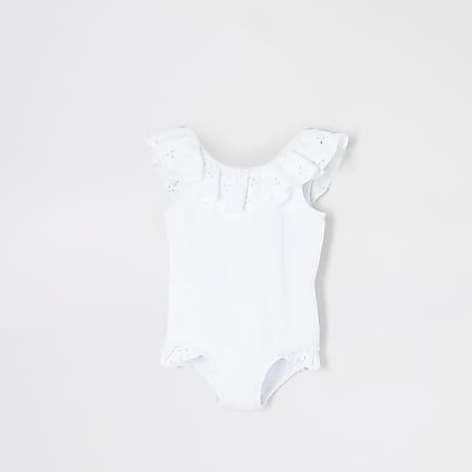 Mini girls white broderie frill rib swimsuit