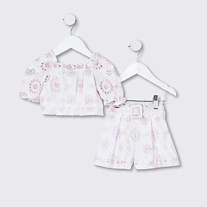 Mini girls white broderie outfit