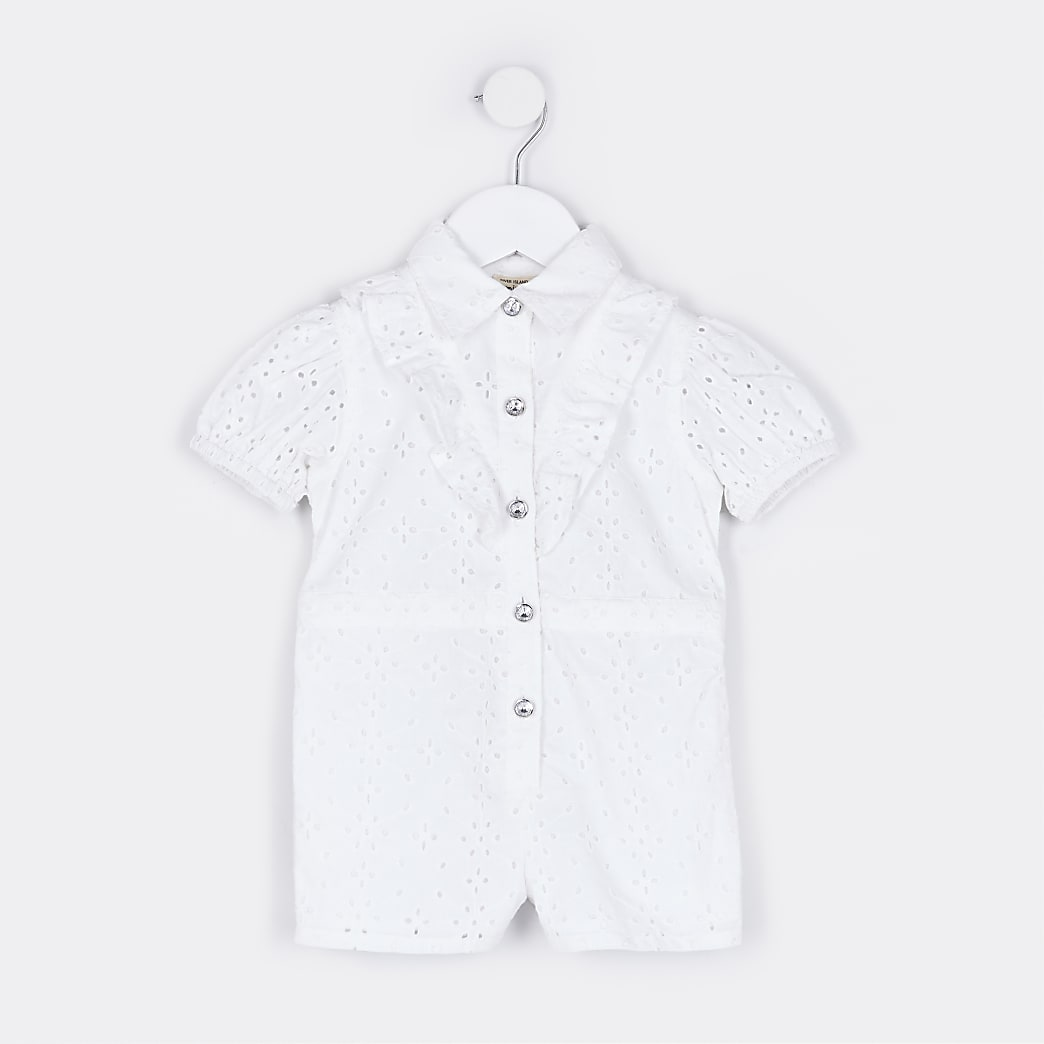 Mini girls white broderie playsuit