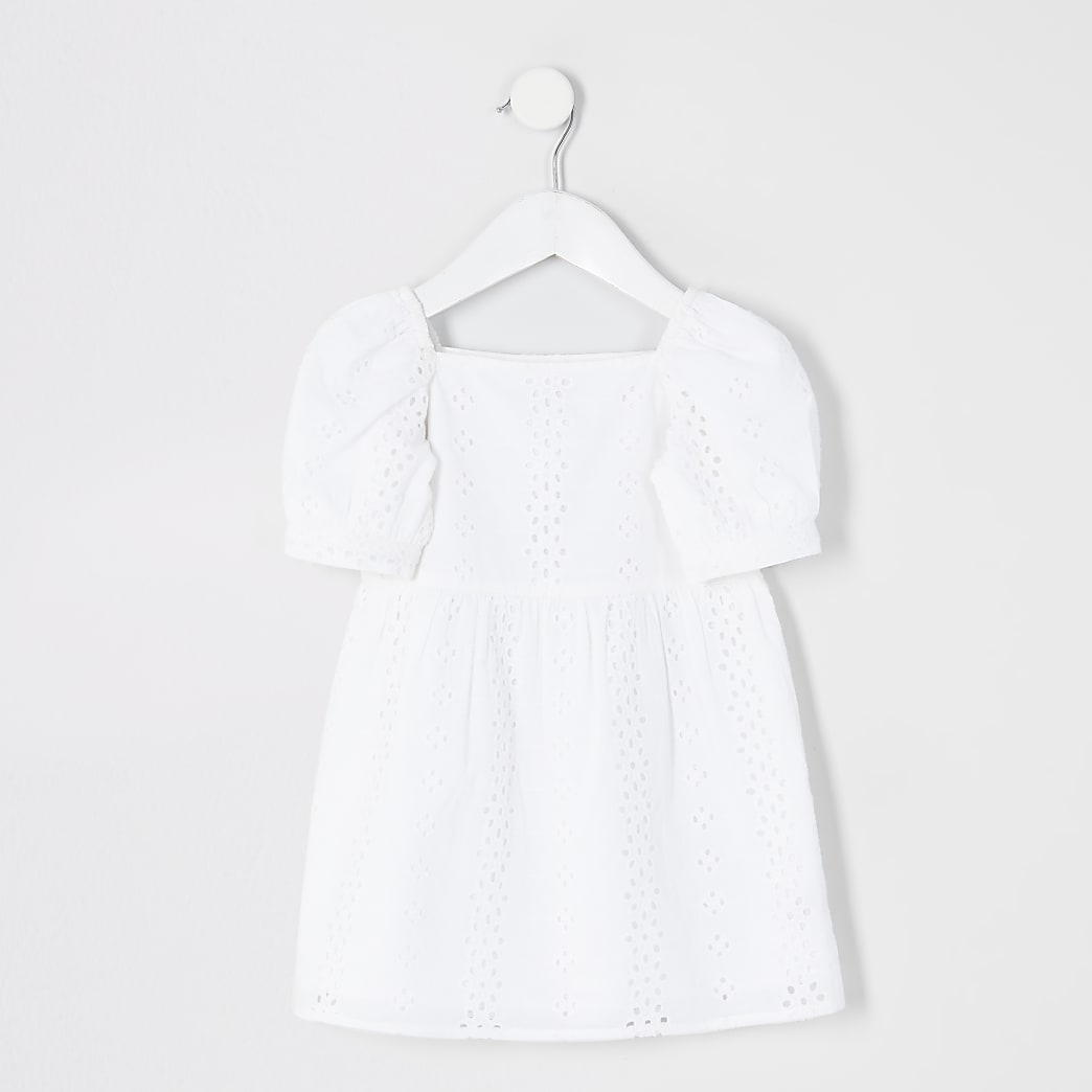 Mini girls white broderie puff sleeve dress