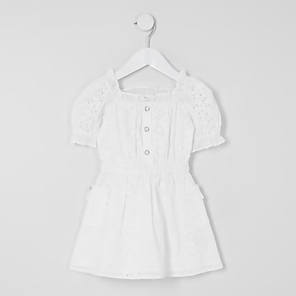 Mini girls white broderie puff sleeve dress