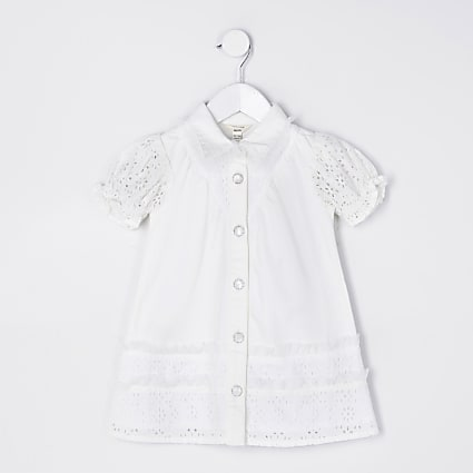 Mini girls white broderie shirt dress