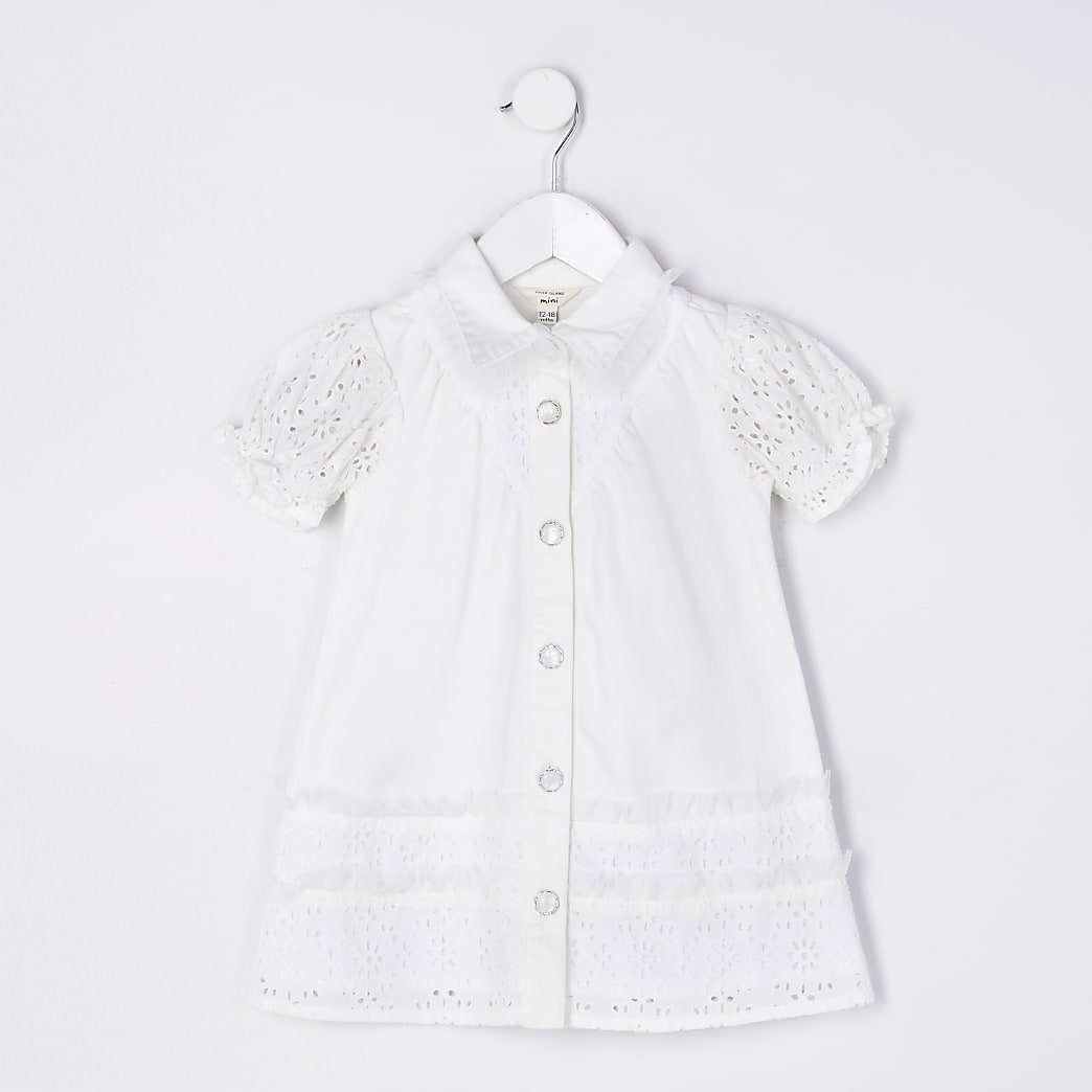 Mini girls white broderie shirt dress