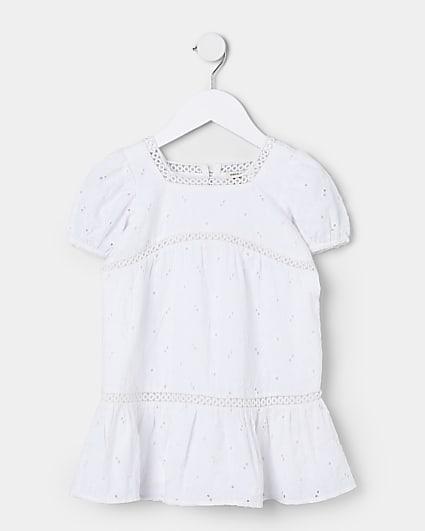 Mini girls white broderie smock dress