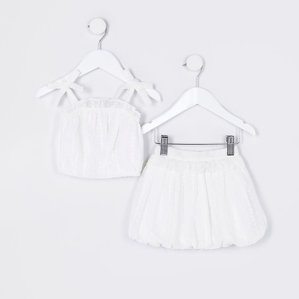 Mini girls white cami top and skirt outfit