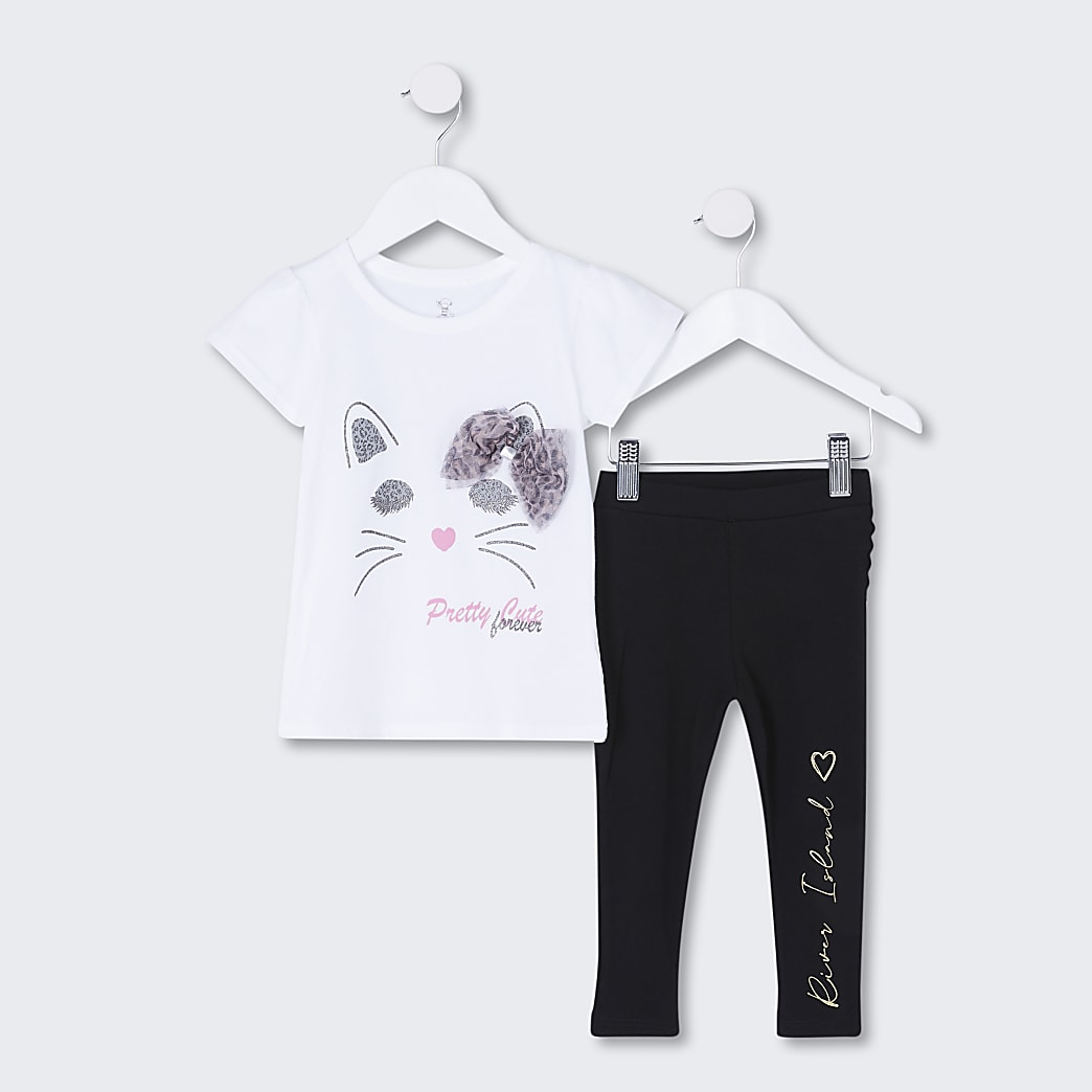 Mini girls white cat bow legging outfit