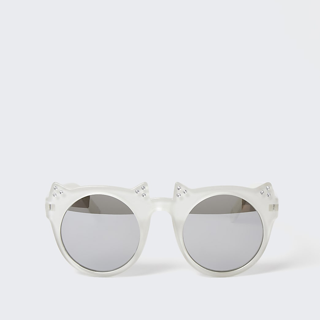 Mini girls white cat ears sunglasses