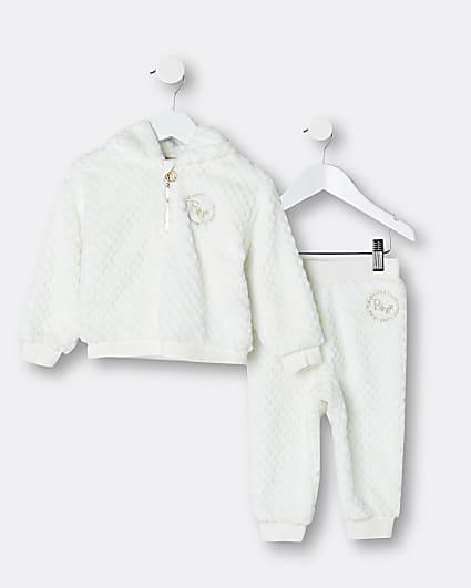 Mini girls white cosy RI hoodie and joggers