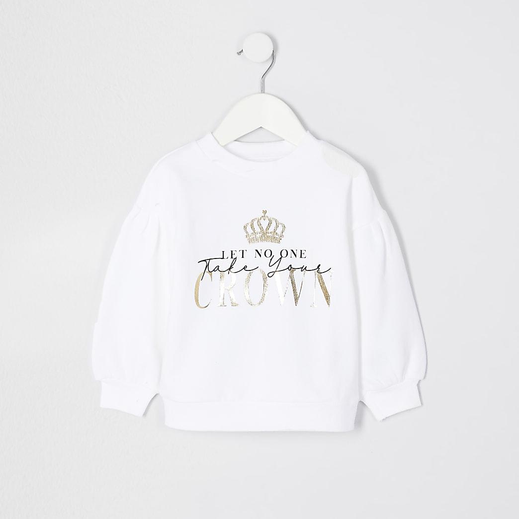 Mini girls white crown print sweatshirt