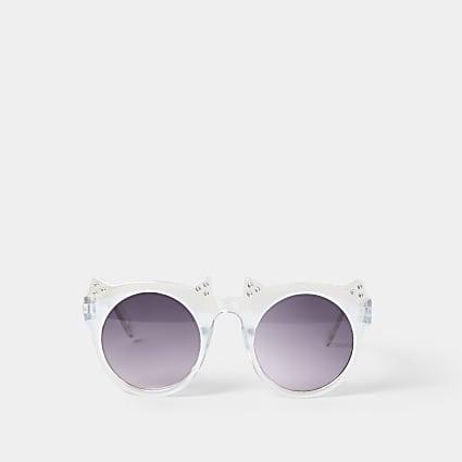 Mini girls white crystal cat sunglass