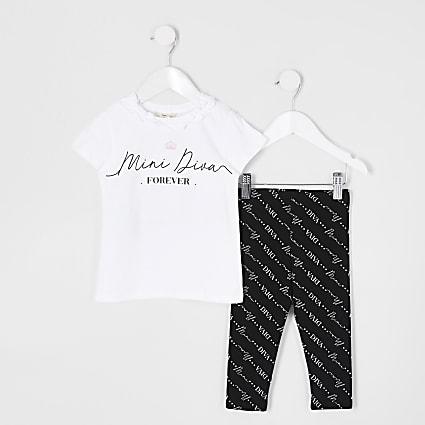 Mini girls white 'diva' print legging outfit