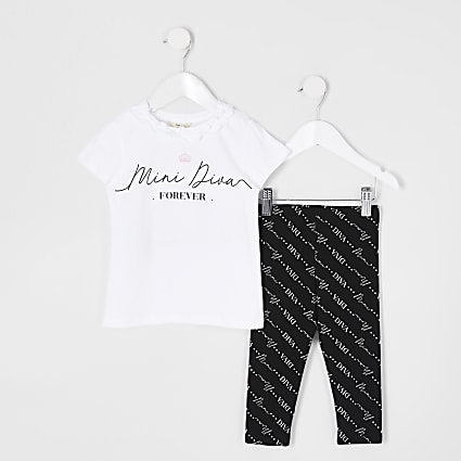 Mini girls white 'diva' print legging set