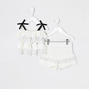 Mini – Gerüschtes Trägertop-Outfit in Weiß mit Punkten