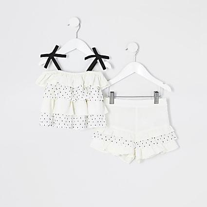 Mini girls white dot ruffle cami top outfit