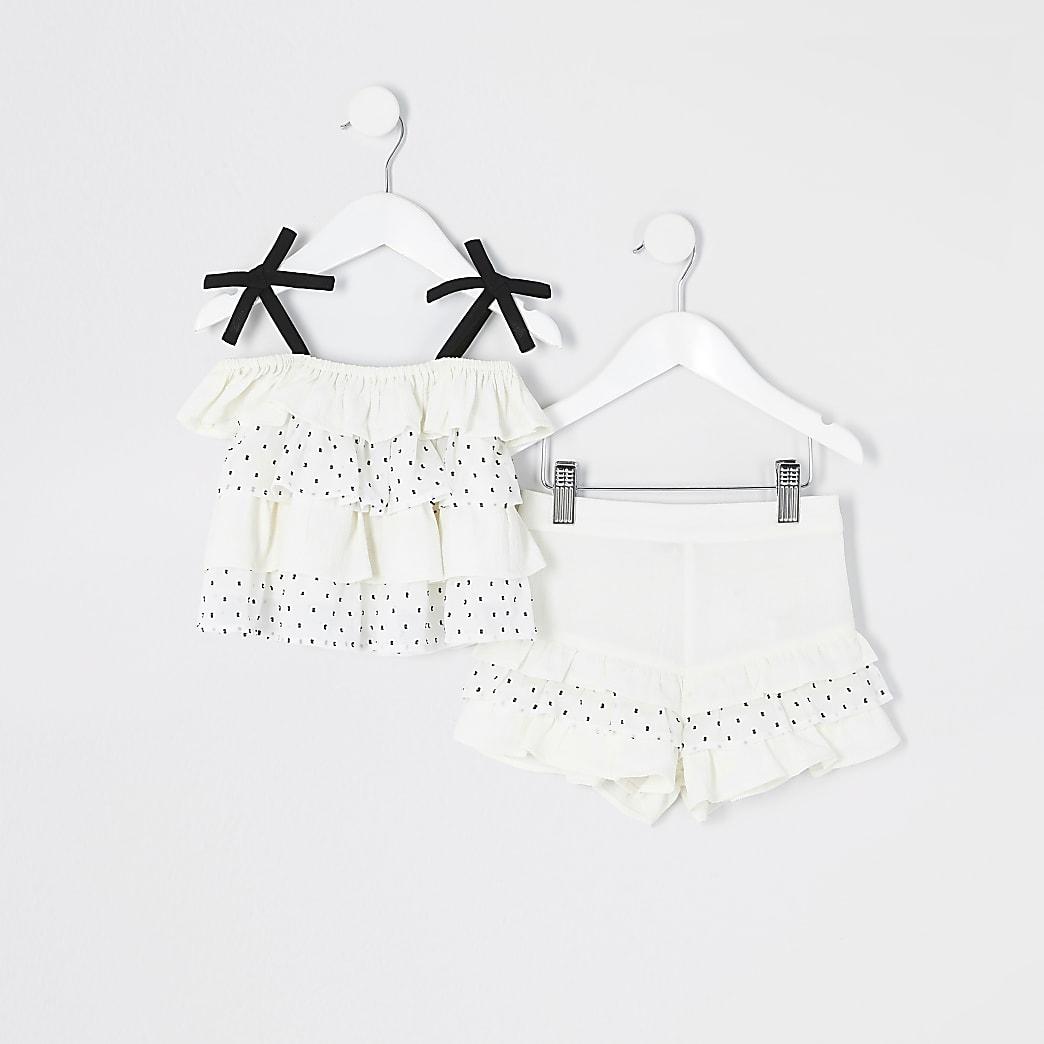 Mini - Outfit met witte cami top met stippen en ruches voor meisjes
