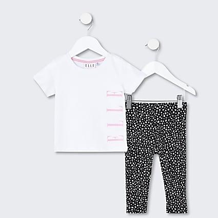 Mini girls white ELLE t-shirt and legging set