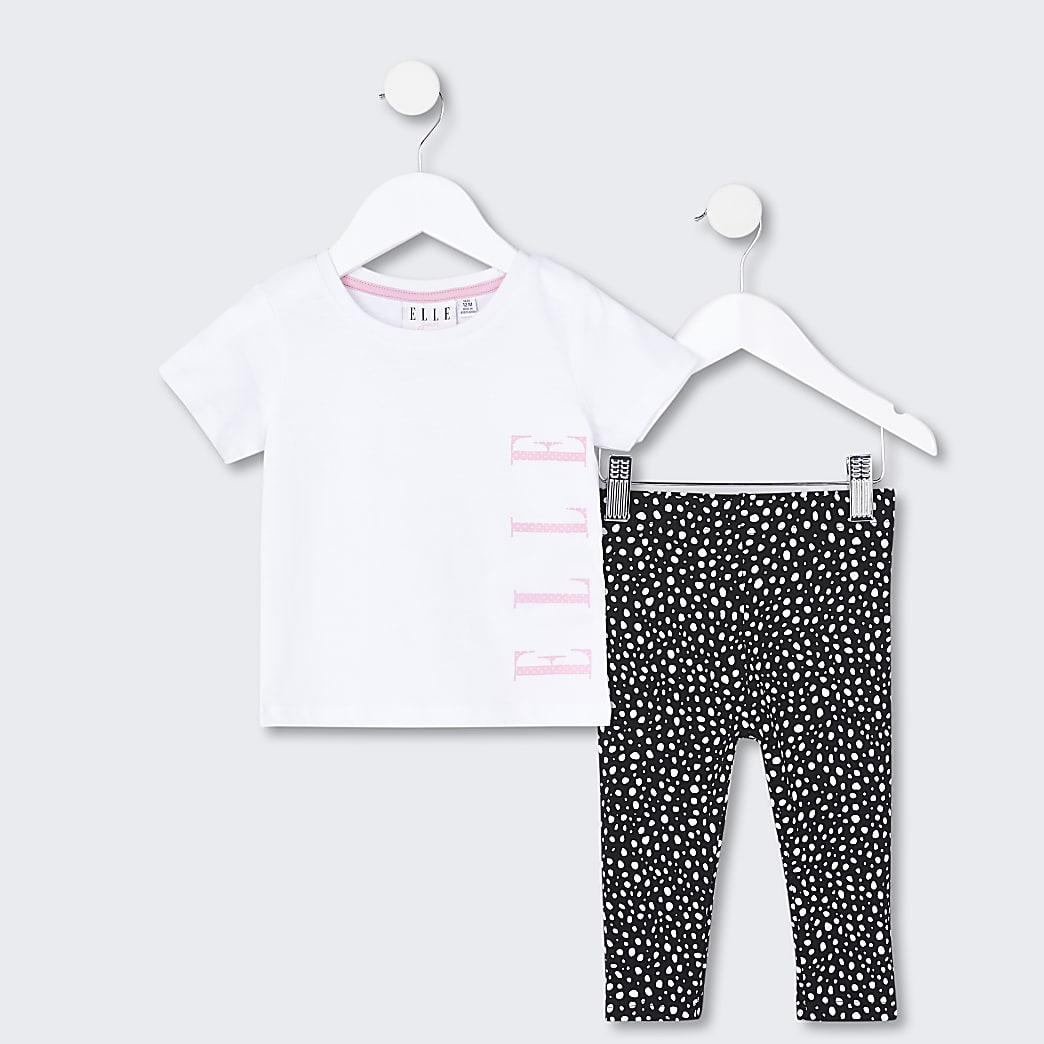 Mini girls white ELLE t-shirt and legging set