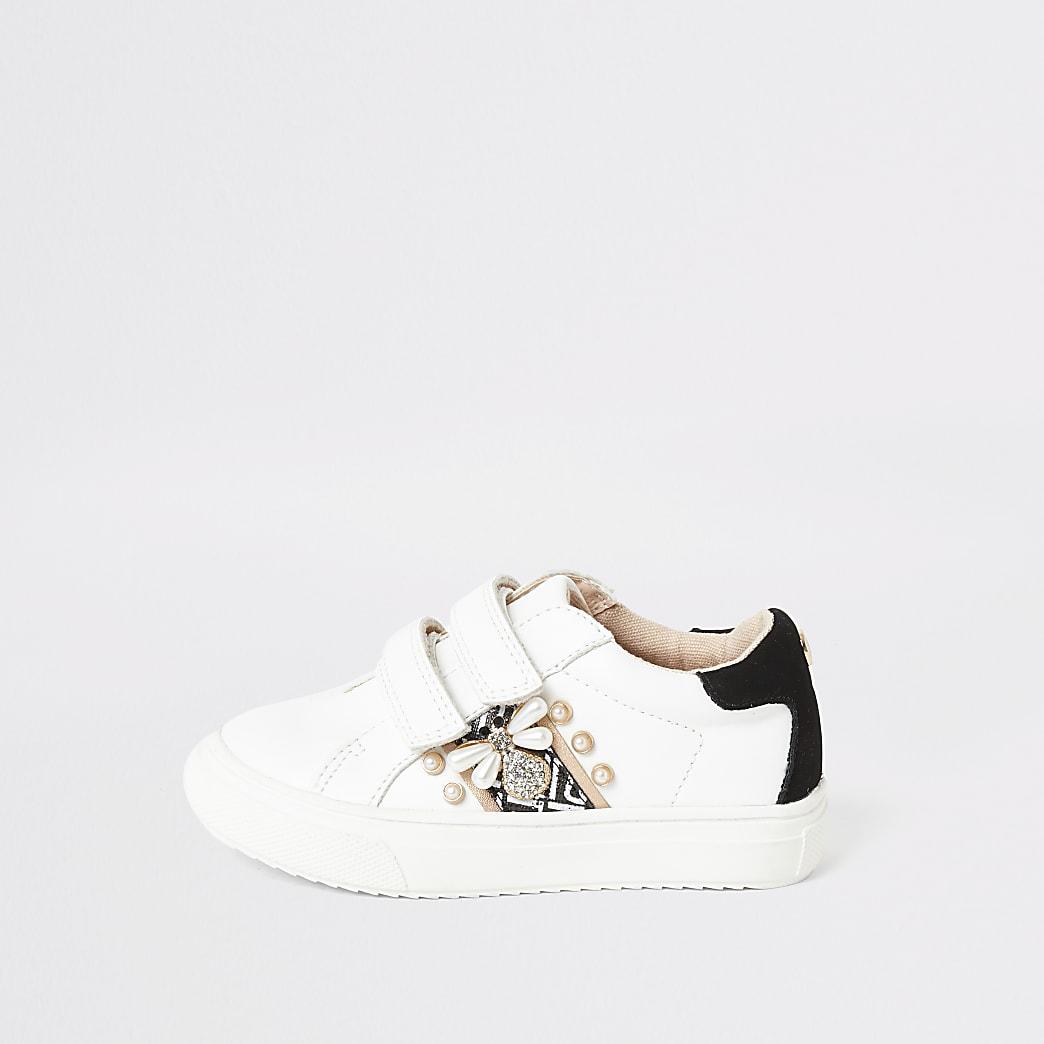 Mini girls white embellished bee plimsolls