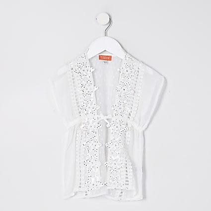 Mini girls white embellished kimono