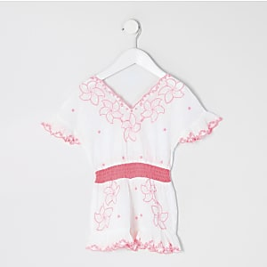 Mini girls white embroidered beach playsuit