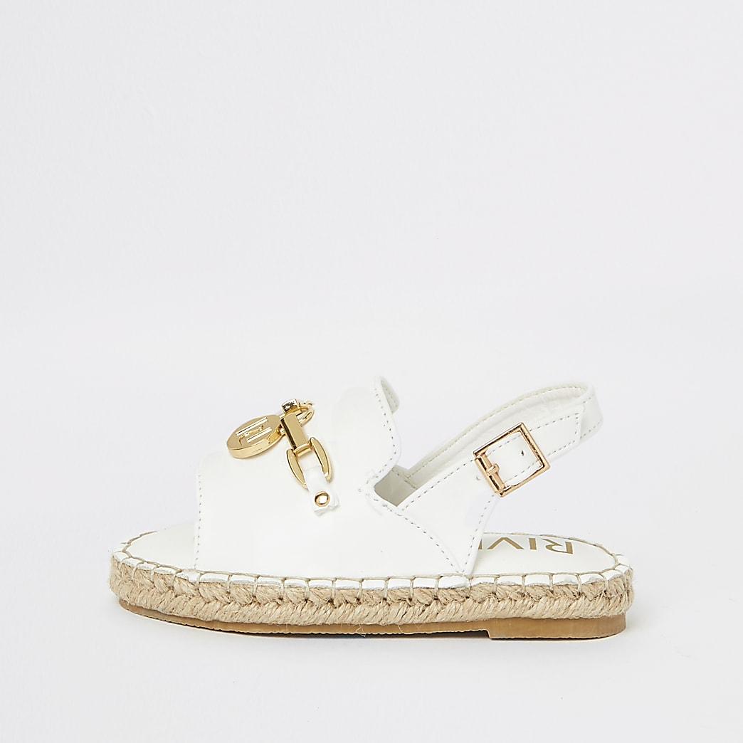Mini girls white espadrille trim sandals