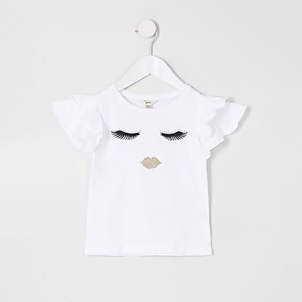 Mini girls white eyelash print t-shirt