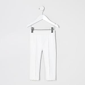 Mini - Witte legging van imitatieleer met ponte-stof voor meisjes
