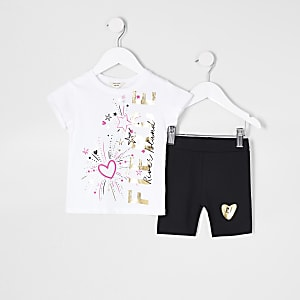 Mini girls white 'fierce' cycling short set