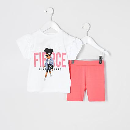 Mini girls white 'Fierce' T-shirt outfit