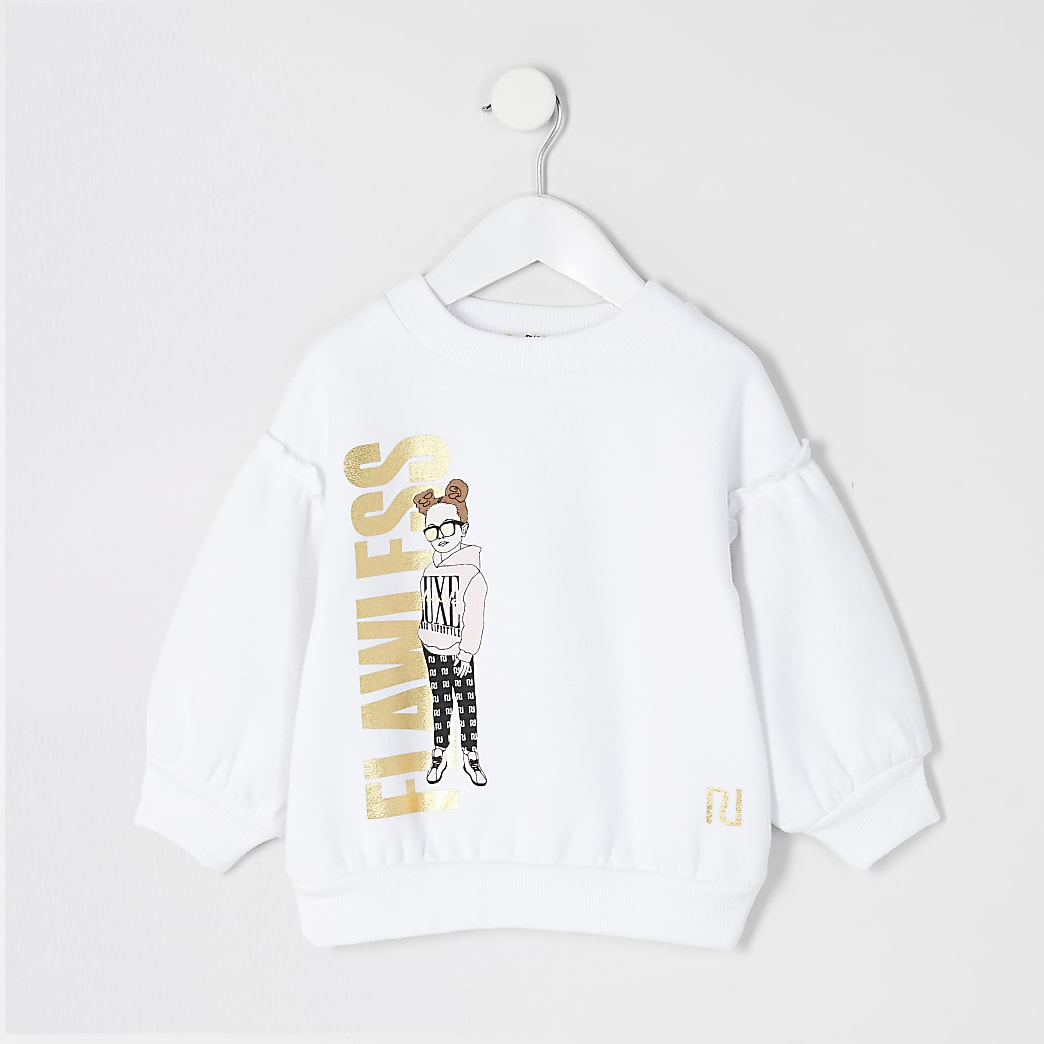 Mini - Witte sweater met 'Flawless'-tekst en meisjeprint voor meisjes