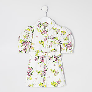 Mini girls white floral broderie shirt dress