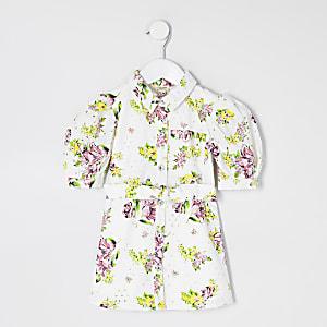 Mini– Weißes Blusenkleid mit Blumenmuster