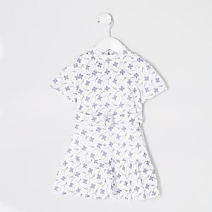 Mini– Weißes, geblümtes Skaterkleid mit Spitze für Mädchen
