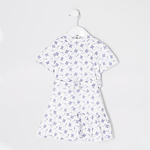 Robe patineuse blanche fleurie en broderie anglaise Mini fille