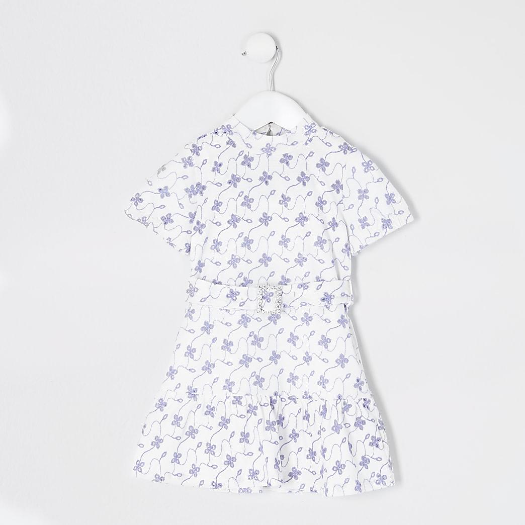 Mini girls white floral broderie skater dress