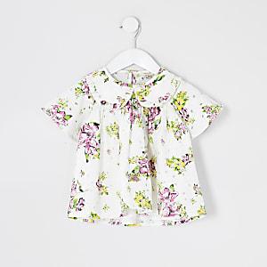 Mini - Witte broderie top met bloemenprint voor meisjes