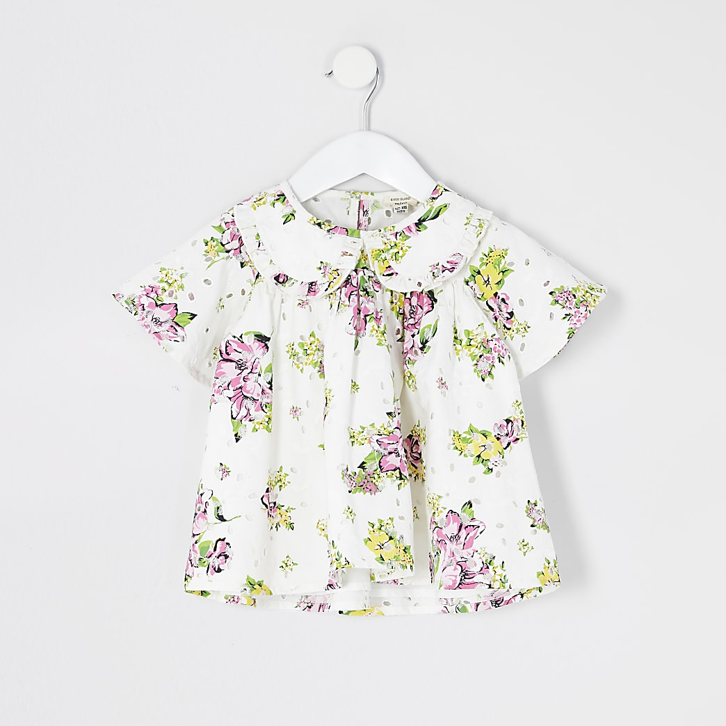 Mini girls white floral broderie top