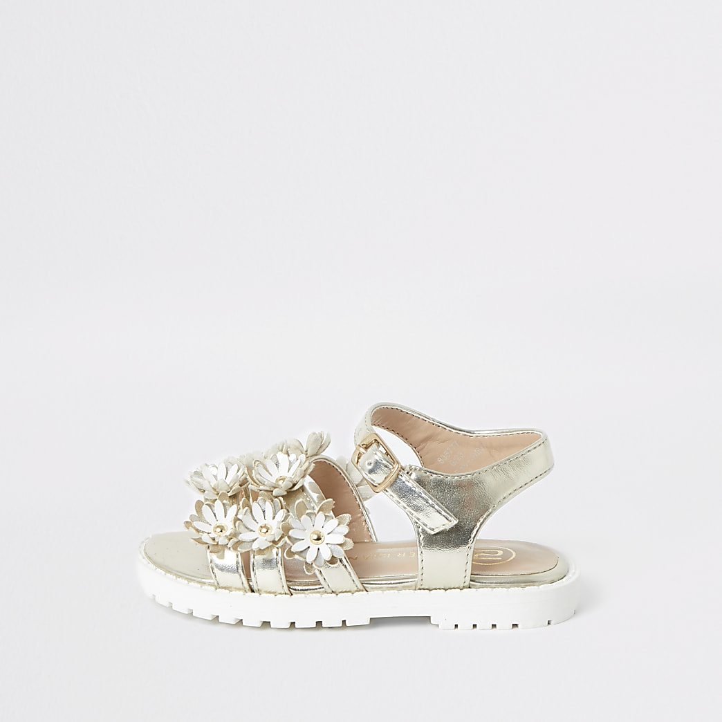 Mini girls white floral clumpy sandals