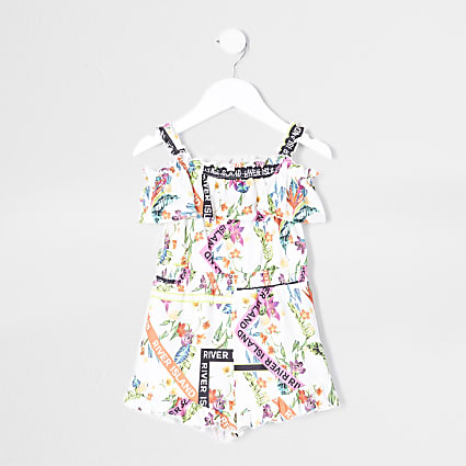 Mini girls white floral frill playsuit
