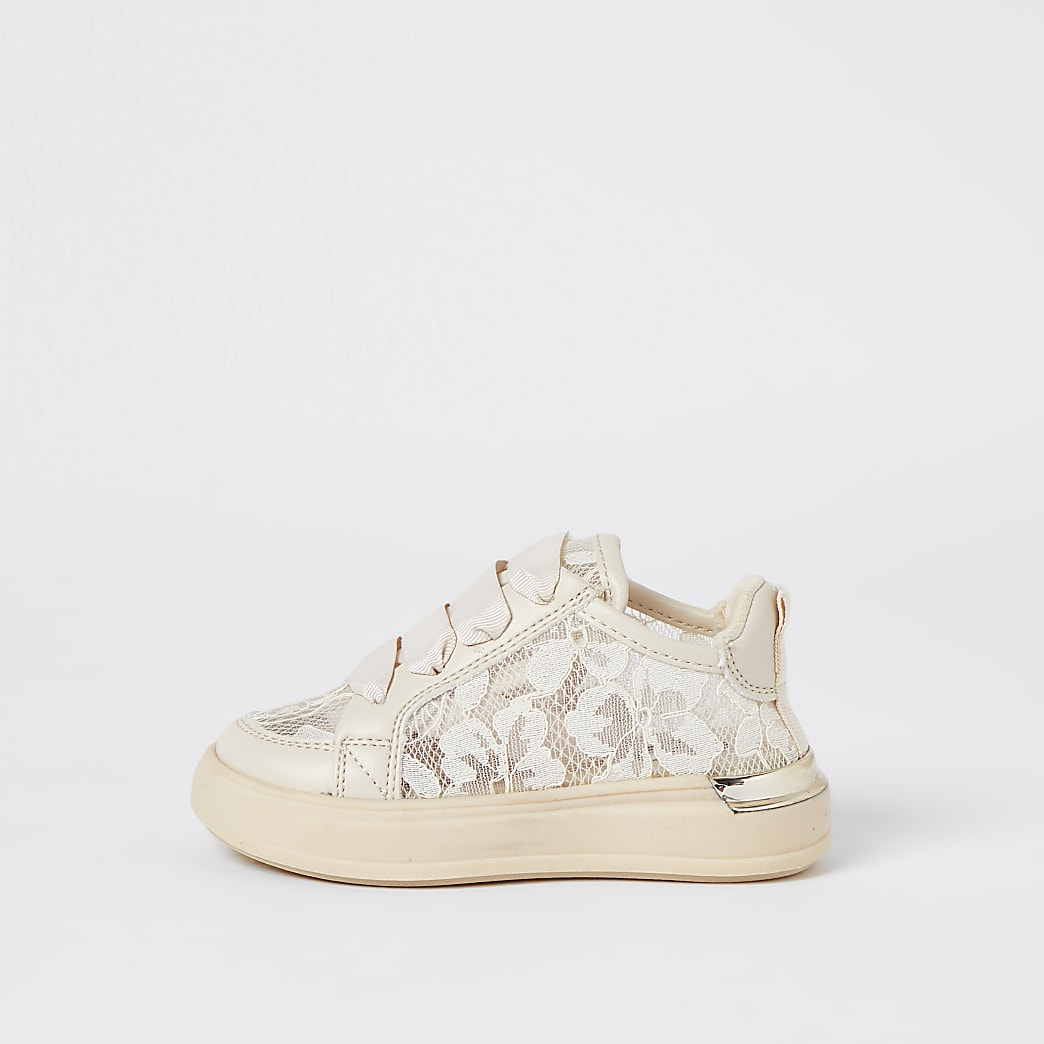 Mini girls white floral lace trainers
