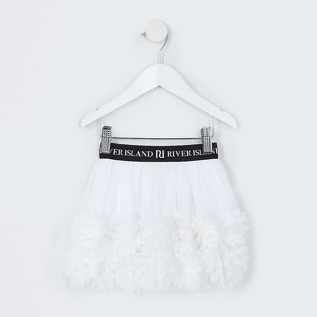 Mini girls white floral mesh TuTu skirt