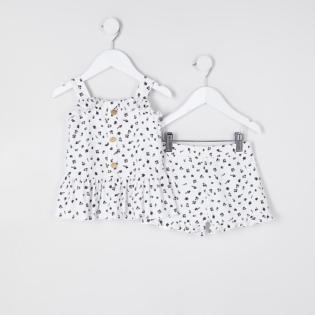 Mini girls white floral rib short cami outfit