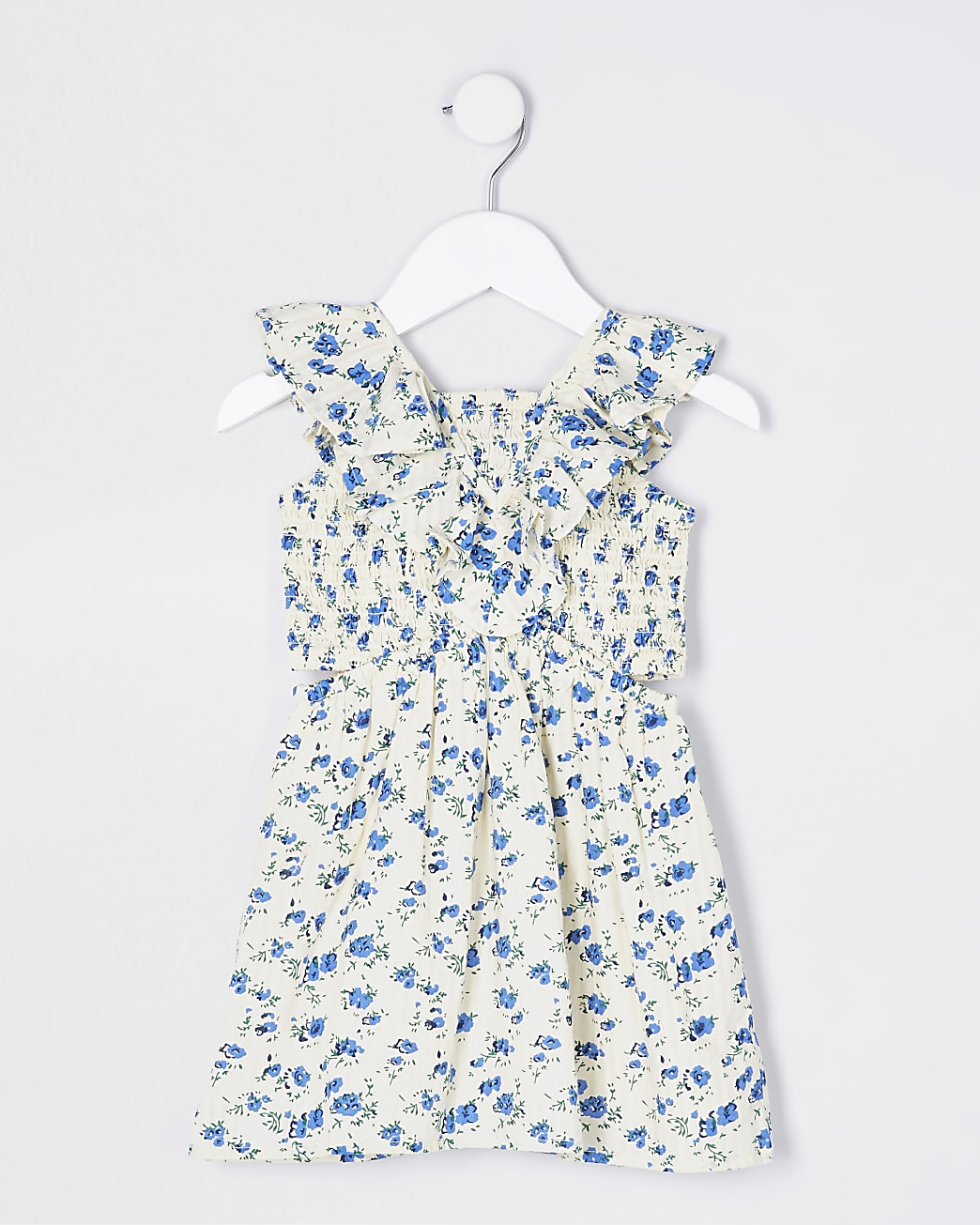 Mini girls white floral shirred dress