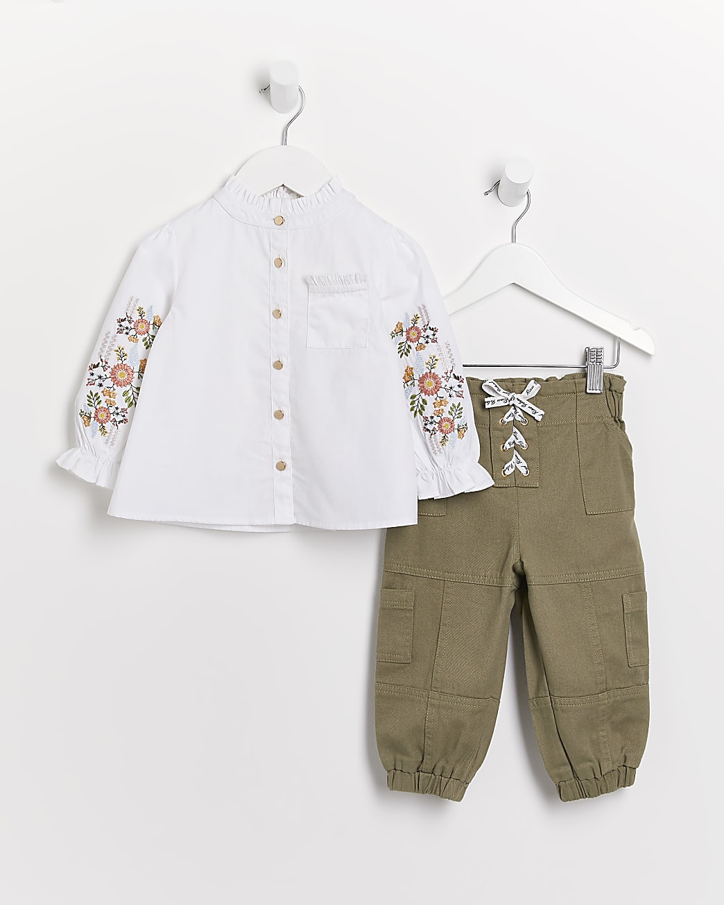 Mini girls white floral shirt and trousers