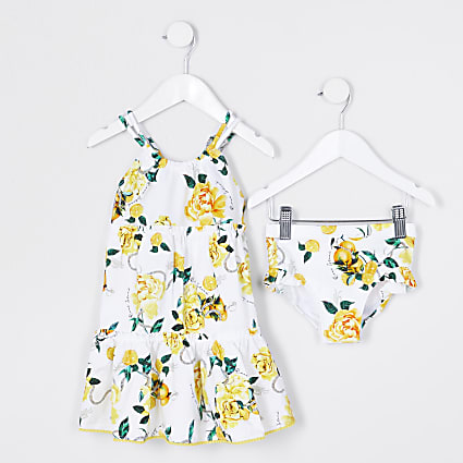 Mini girls white floral swim dress outfit
