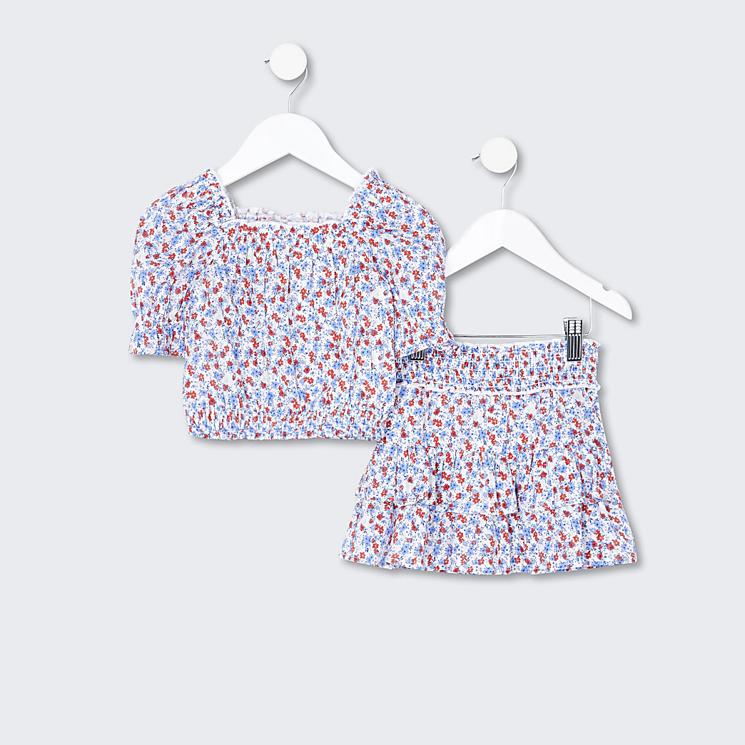 Mini girls white floral top and skirt outfit