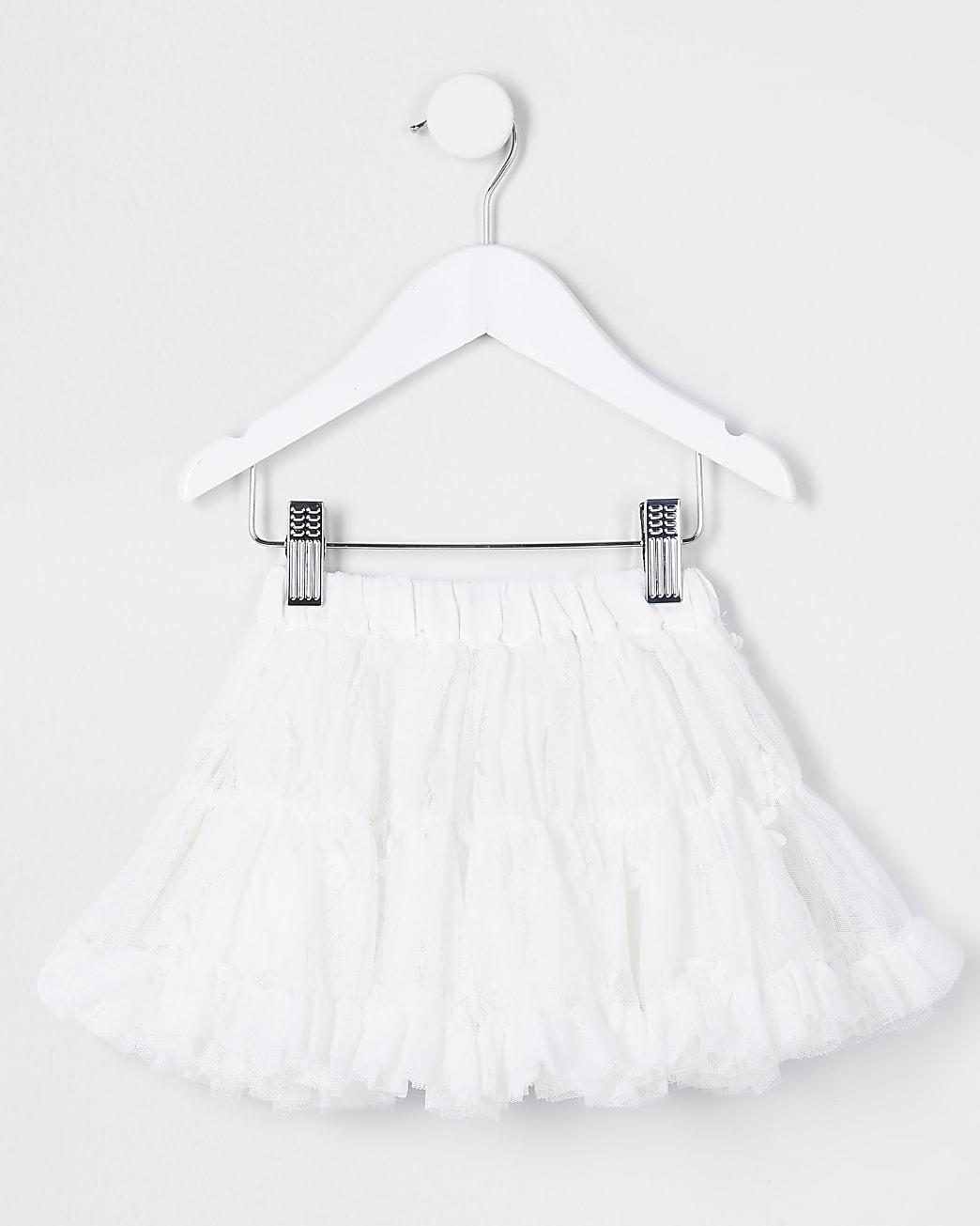 Mini girls white floral TuTu skirt